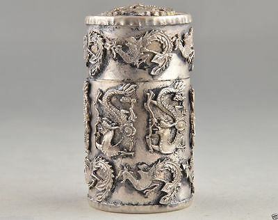 Oriental Vintage Handwork Creation Tibet silver dragon phoenix Tobacco Box