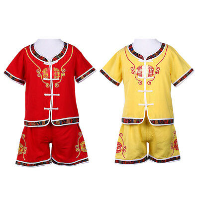 Chinese Style Baby Boy Kids Short Sleeve Tang Suit Tops Short Pants Outfits Set