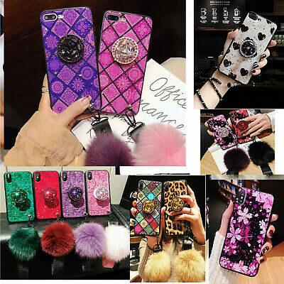 Hot Bling Diamond Stand Fur Ball Strap gel Glitter Case For iPhone XSMax 7 8P XR