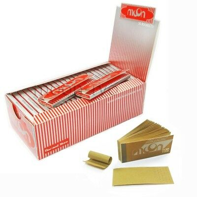 1 Box 50 Booklets Moon Red Cigarette Rolling Papers 70*36mm 2500 Leaves & Tips