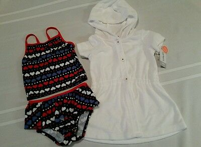 Carter's 3-piece red white blue ruffle tankini w/white cover up Toddler Girl 12M