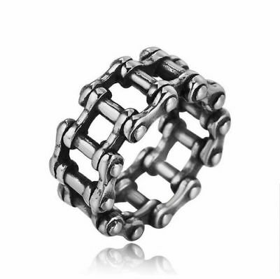 Stainless Steel Fashion Silver Men's Punk Biker Rings Casting Jewelry Size 8~11
