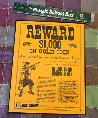 BLACK BART WANTED REWARD OLD WILD WEST POSTER WESTERN BAR SALOON PICTURE 003