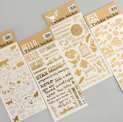 Gold Twinkle Daily Decorative Washi Stickers Scrapbooking DIY Label Sticker