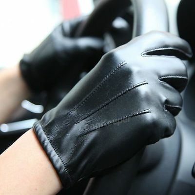 Winter Men PU Leather Gloves Warm Lined Driving New Mens Black Lining Fleece