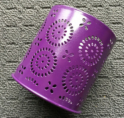 "DOTTY SPIRALS ""Purple"" Decorative Metal Candle Holder Freestanding Tin Ornament"