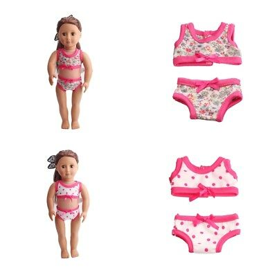 """Baoblaze 2 Set Doll Swimsuit Swimwear Outfit for 18"""" American Girl Doll Accs"""