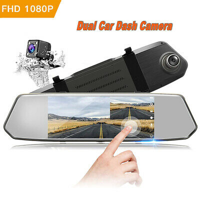 "TOGUARD Backup Camera 7"" Mirror Dash Cam Touch Screen HD1080P Rearview Dual Lens"