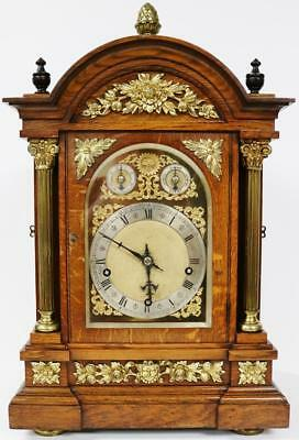 Antique English Carved Oak Triple Train Musical Westminster Chime Bracket Clock
