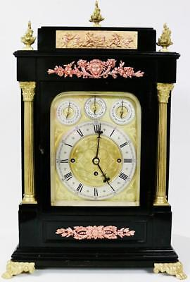 Rare Antique English Ebonised Triple Fusee Musical 8 Bell & 5 Gong Bracket Clock