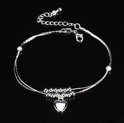 AU 925 sterling silver stamped Fashion Cute Double Chain love heart Beads anklet