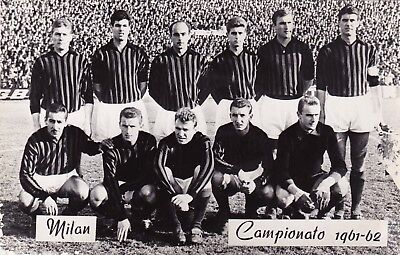 Calcio/Football Cartolina squadra MILAN 1961-'62 con RIVERA e RADICE originale