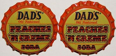 Soda pop bottle caps DADS PEACHES N CREAM Lot of 2 plastic lined new old stock