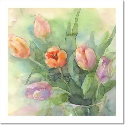 Color Tulips In Vase Watercolor Art Print Home Decor Wall Art Poster - D
