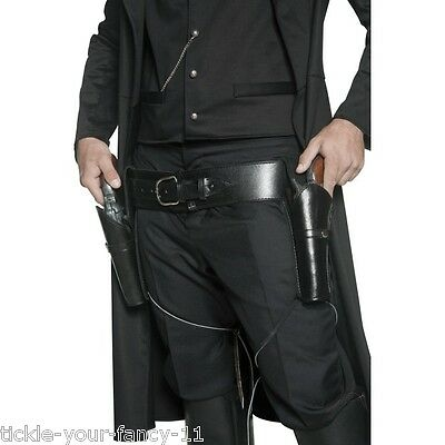 Men's Black Fancy Dress Authentic Western 2 Holsters & Belt Cowboy Gunfighter