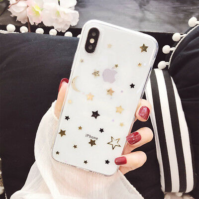 For iPhone X 8 7 Plus Shockproof Bling Cute Star Clear Case Soft Rubber Cover