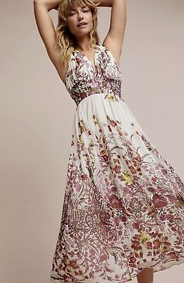 240cd48f6d3ff NEW Ranna Gill white pink red Floral Print Bought at Anthropologie Maxi  Dress 6