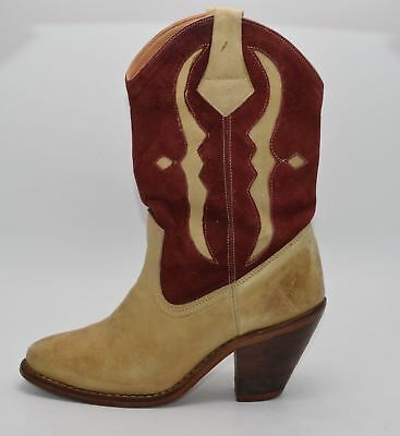 Vintage Womens Red Tan Brown Leather Suede Cowgirl Boots Made in Brazil Size 5 M