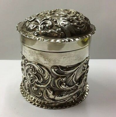 Antique1902 Silver William Comyns Leather Bound Letter Box Repousse Angels Edwardian (1901-1910) Antique Furniture