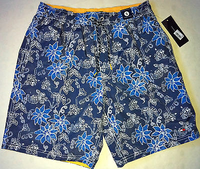 c6d789b823 NWT Tommy Hilfiger Swim Shorts Blue Floral Trunks S Small Bathing Suit Men`s  New