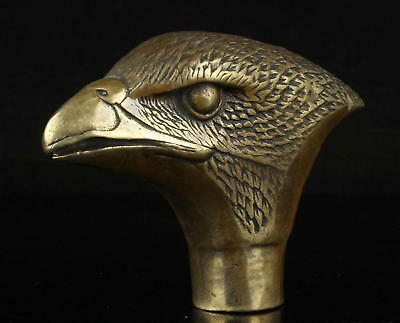 Chinese Old Bronze Handmade Carved Animal eagle Statue Cane Walking Stick Head