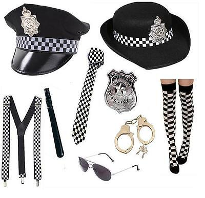 Women's Fancy Dress Police Lady Hat Tie Socks Badge Handcuffs Glasses Hen Theme