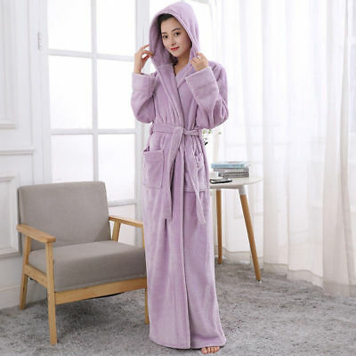 b43404204e Robe Soft Ladies Towelling Bath Cosy Long Hooded Winter Fleece Dressing  Gown Hot