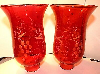 Cranberry Ruby Red Etched Grapes Glass Hurricane Lamp Shades Victorian Globes