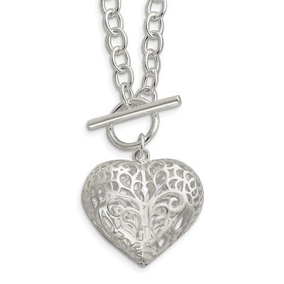"""Sterling Silver Large Puffed Heart Necklace, 18"""" MSRP $413"""