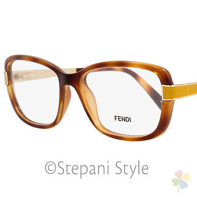 acbba6c4c9 Fendi Rectangular Eyeglasses F1038 725 Size  52mm Light Havana Gold 1038