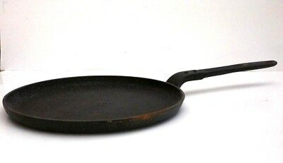 "RARE Antique A C Cast Iron Handled Flat 10"" Skillet Griddle Chef France LOOK!"