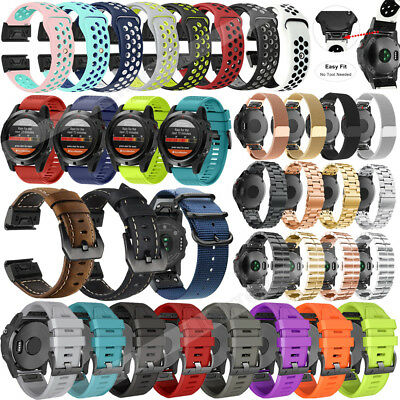 Quick Fit Silicone/Leather/Milanese Watch Band Strap For Garmin Fenix 3 5X Plus