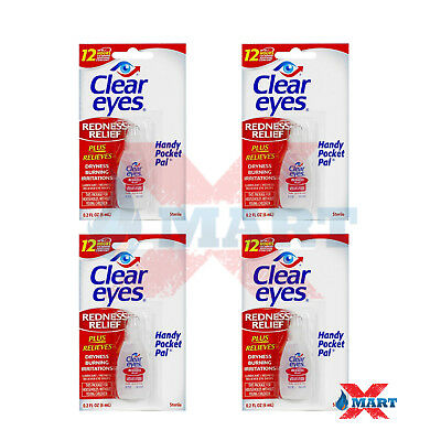 4 Packs Clear Eyes Redness Relief Eye Drops - 0.2 oz Last up to 12 Hours