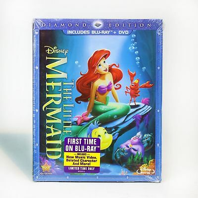 The Little Mermaid (Blu-ray/DVD, 2 Disc Set, Diamond Edition) FAST FREE SHIPPING