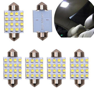 6Pcs White 42MM 16SMD LED Festoon Dome Map Trunk Interior Light Lamps 578 212-2