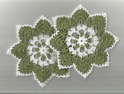 """2 Crochet Doilies Small Lace Olive Green and White 6"""""""
