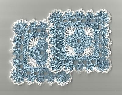"""2 Crochet Doilies Small Lace Delft Blue and White 4"""" Square"""