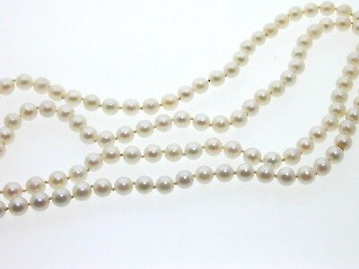 """Sea Cultured Pearl Necklace Continuous Pearls 30"""" London 6 mm Pearl 33.4 Grams"""