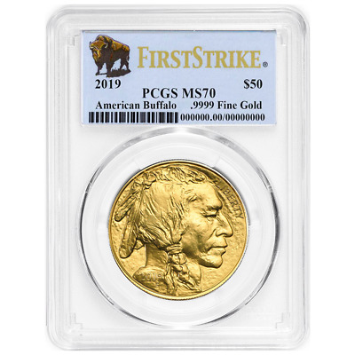 2019 $50 American Gold Buffalo PCGS MS70 First Strike Buffalo Label
