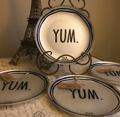 """Rae Dunn LL LARGE LONG LETTERS YUM Salad 8"""" Plates Set Of 4 GLASS COLLECTION HTF"""