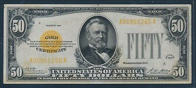 Fr2404 $50 1928 Gold Note Vf+ With Light Toning Hw4699
