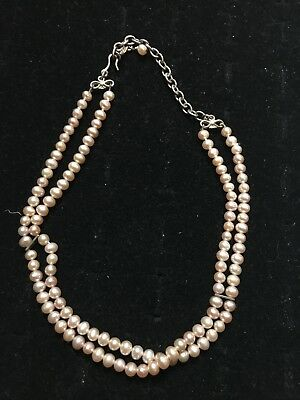 Gorgeous Double Strand Genuine Pearl Choker Necklace, Sterling Clasp, Estate