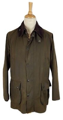 Barbour Mens Classic Bedale Olive Green Wax Cotton Jacket, C42 XL