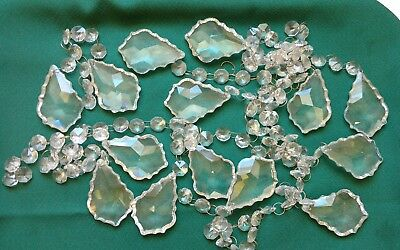 "Vintage Chandelier Glass Crystal Prism Leaf Tear Drops 2 1/4"" Lot of 14"