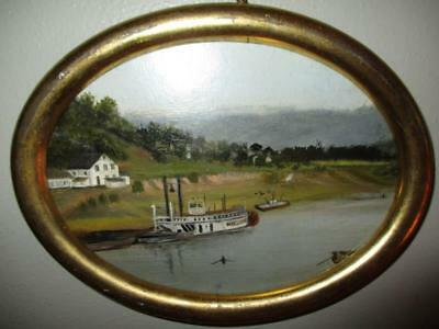 Charming Miniature 19Th Century Hudson River Landscape Painting In Oval Frame