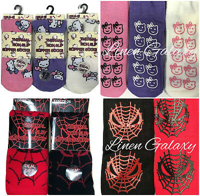 Boys Girls Children Kitty Cat Spider Web Warm Thermal Slipper Gripper Bed Socks