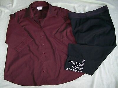 """""""oh! Mamma"""" Maternity Outfit-Button Down Blouse & Capri Pants-Both Size Xl"""