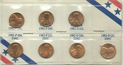 Unc Set 7 1982 Lincoln Memorial Cents P D S Zinc,Copper, Small And Large-Feb155