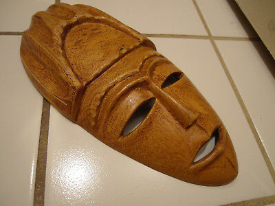 Rare Vintage African Tribal Carved Wood Wall Mask Face Africa Art Signed D.p.
