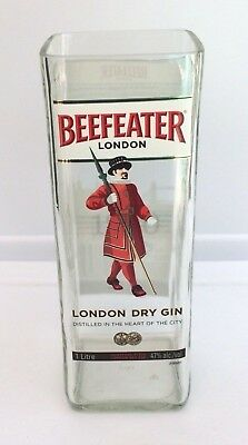Beefeater London Gin Bottle Handcrafted Tall Glass, Vase, Pitcher, Coin Jar